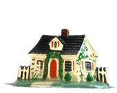 Little Cottage Doorstop, Cast Iron, Handpainted house, Metal, Storybook cottage, Iron doorstop, Cottage Garden, Red shutters, metal house