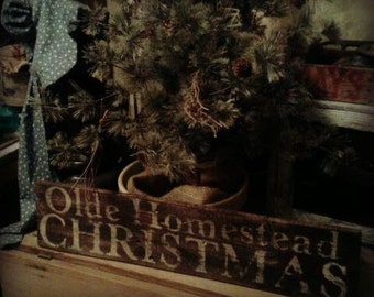 Olde Homestead Christmas Barnwood Rustic Sign