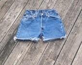 high waist daisy duke vintage 1980s LEVI'S (501) cutoff denim shorts, W29 with the classic button fly!