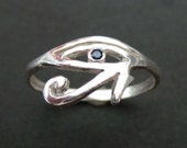 Egyptian Eye of Horus Ring - Sterling Silver Egyptian Ring, Egyptian Jewelry, Hieroglyph Ring - Valentines Day, Spring, 2016 New Year Gift