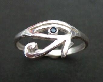 Egyptian Eye of Horus Ring - Sterling Silver Egyptian Ring of Power, Eye of Ra Ring - Egyptian Jewelry, Hieroglyph Ring - immortal ring