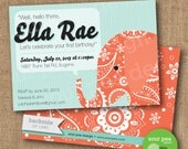 "Birthday Invitation - Custom DIY Printable Invitation - ""Paisley Elephant"""