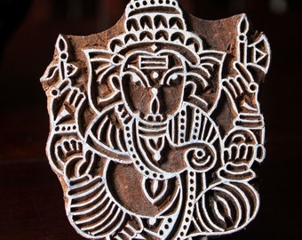 Hand Carved Indian Wood Textile Stamp Block- Ganesha