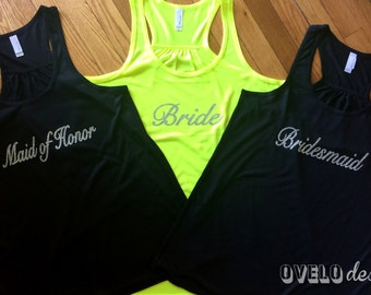 Bridal Party Bride, Bridesmaid, Maid of Honor Tank Top Flowy Racerback Tank Printed in a Sparkle Glitter!