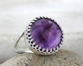 MOTHER'S DAY SALE - Amethyst ring,February birthstone ring,silver ring,health ring,energy ring,good luck ring,faith ring,love ring