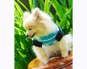 Dog Sweater Gothic Black Blue Flower Crochet Custom Puppy Sweater Pet Clothing Chihuahua Yorkshire DK840 Myknitt - Free Shipping