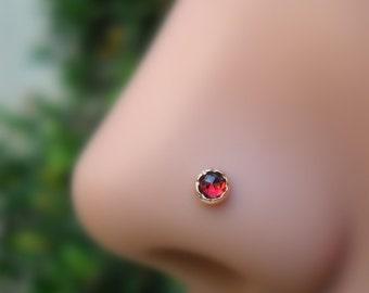 Nose Ring - Tragus Stud - Cartilage Earring - 14K Solid Rose Gold 3mm Garnet Nose Stud - Nose Piercing