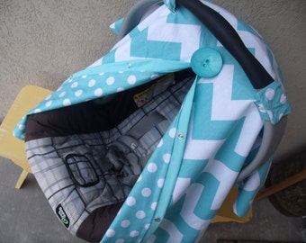 Carseat Canopy Chevron Reversible car seat canopy / car seat cover / car seat tent / nursing cover / car seat accessories / car seat