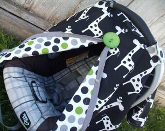 Carseat Canopy Giraffe Polka Dot REVERSIBLE nursing cover infant carseat cover
