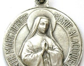 Saint MARGARET ALACOQUE & the APPARITION of Jesus Vintage French Silver Religious Medal Pendant on 18 inch sterling silver rolo chain