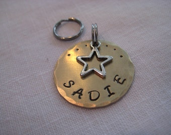 Pet tag- Hammered Disc with Star Charm