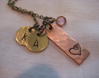 Hand stamped necklace- Copper pendant with Whimsical Heart