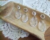 Vintage Chandelier Prisms - Set of Four - Tear Drop Shaped