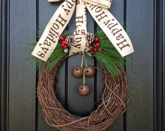 Christmas Wreath-Winter Wreath-Holiday Door Decor-Red Berry-Rustic-Holiday Season-Jingle Bells-Happy Holidays Ribbon Bow-Green Pine