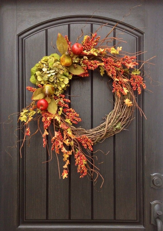 Autumn Door Decorations Orange Door : Fall wreath autumn orange berry by anextraordinarygift