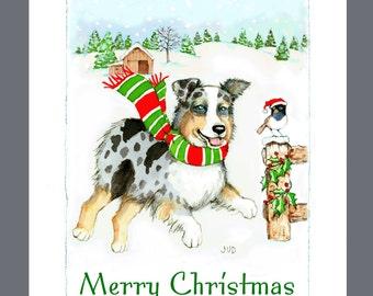 Australian Shepherd Dog Christmas Cards Box of 16 Cards and 16 Envelopes