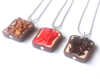 Best Friend Necklace ( 3 way necklaces peanut butter strawberry jelly nutella chocolate toast necklace 3 toasts polymer clay jewelry )