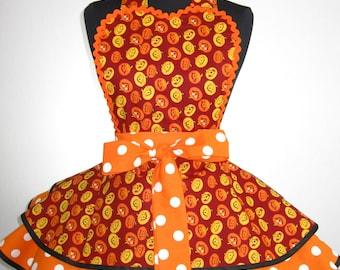 Halloween Apron Harvest Pumpkin Apron Jack O Lantern Apron ready to ship
