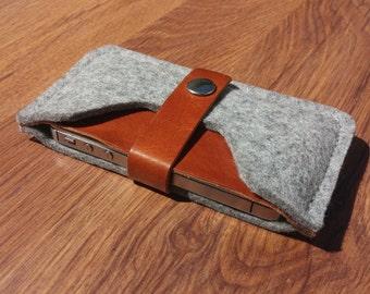 Felt iPhone 7 case iPhone 7 sleeve iPhone 6 case iPhone 6 sleeve iPhone 7 スリーブ iPhone 7 Hülle - Light grey felt & brown leather