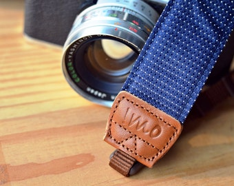 Navy Rainy Drops Camera Strap suits for DSLR / SLR with Quick Release Buckles