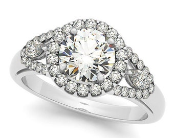 1 ct 6.5mm Forever Brilliant Moissanite  Solid 14k white gold Antique Style diamond Engagement Ring-Ov95445