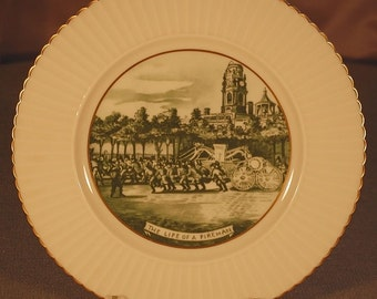 "Vintage ""LENOX"" Currier and Ives ""The Life of a Fireman"" 10 3/4"" dinner plate in green ca 1950S"