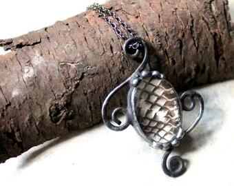 Cobra Snakeskin Domed Glass Pendant on Gunmetal Chain