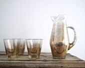 Vintage Gold Glass Set with Gold Pitcher-  Mid Century Gold Barware Glasses - Set of Glasses