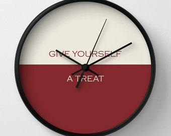 Kitchen Wall Clock - Give Yourself a Treat Wall Clock - Maroon Beige - Original Design - Home decor by Adidit