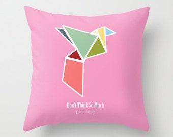 Throw Pillow Cover - Origami Bird - Pink Pastel - 16x16, 18x18, 20x20 - Bedroom Living Room Nursery Original Design Home Décor by Adidit