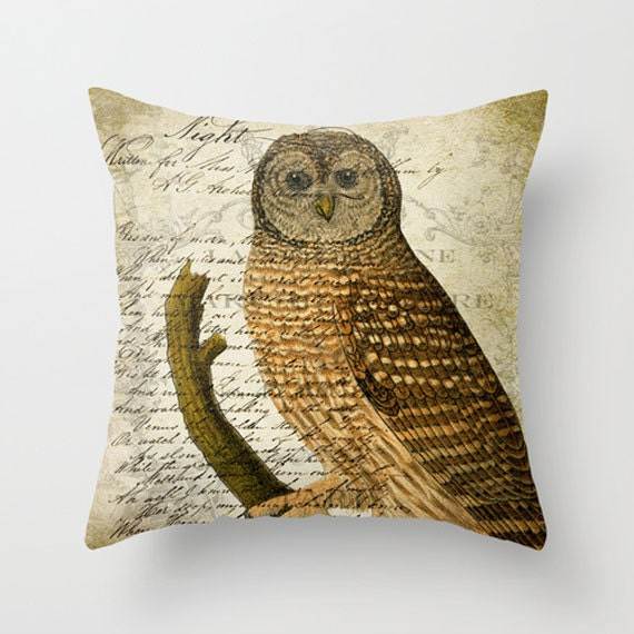 Owl Throw Pillow Covers : Throw Pillow Cover Owl on Vintage Ephemera 16x16 18x18