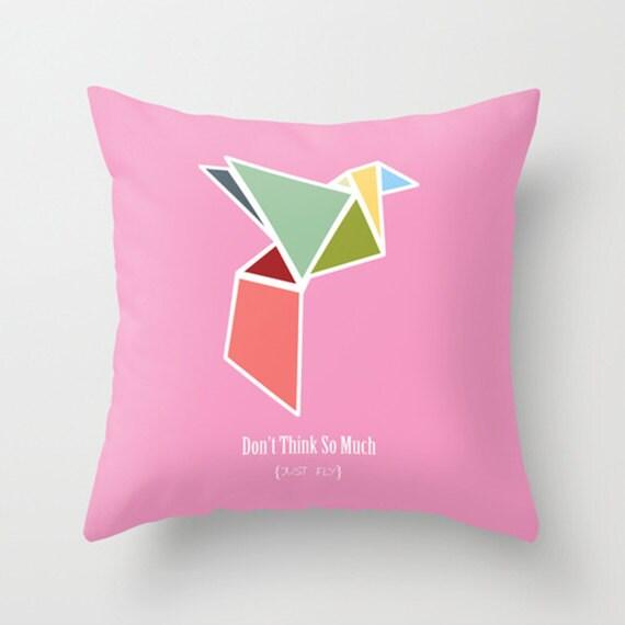 throw pillow cover origami bird pink pastel 16x16