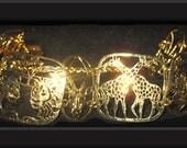 Wild Bryde Animals of Africa Hammered Gold Plated Bracelet with Safety Chain Excellent Condition!  Signed Bracelet, vintage, designer signed
