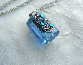 Ocean Blue Crystal And Silver Perfume Or Essential Oil Bottle Necklace