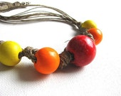 SuNsEt - linen necklace- red orange yellow