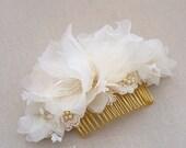 Silk Bridal Headpiece, Wedding Headpiece, Bridal Hair Piece, Bridal HairPiece, Gold Bridal Hair Comb, Swarovski Pearl Flower Bridal Comb