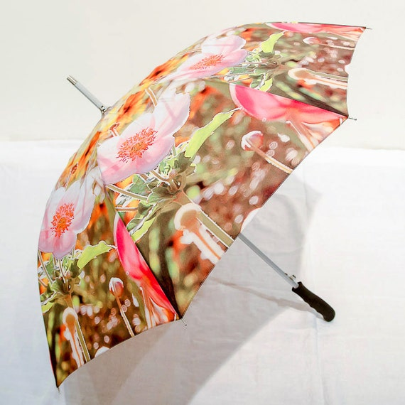 IN STOCK Garden Flowers Photo Umbrella  - Yellow Pink Green Floral Mothers Day Gift