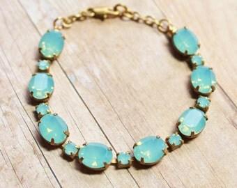 Pacific Opal Swarovski Bracelet,Swarovski Rhinestone Bracelet,Vintage Tennis Bracelet,RARE Color,Mint Blue Opal Stones,Bridesmaids Jewelry