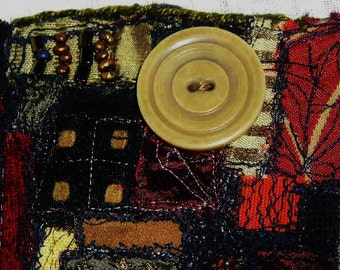 Edgy Steampunk  Fabric Cuff Bracelet Fall Fusion of Color and Texture Wearable Fiber Collage