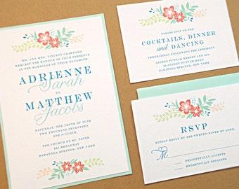 Wedding Invitation Suite / Modern Wedding Invitations, Vintage Wildflowers - Deposit