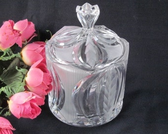 Novellette ll Biscuit Candy Barrel Jar w/ Lid by Crystal Clear Industries