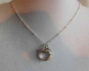 "18"" Crystal Silver Pendant Necklace on a Silver Knotted Chain, necklace, pendant, silver, knotted chain, briolette"
