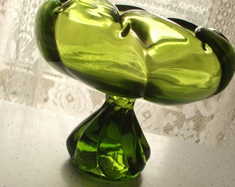 Vintage 1960's Viking glass avocado green glass compote, swirl pattern, green glass candy dish, retro living room game room decor,