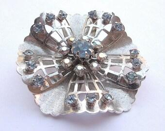 Antique 1940's Coro brooch pin, silver enamel brooch, pastel blue rhinestone brooch, antique brooch, antique jewelry, blue wedding gift