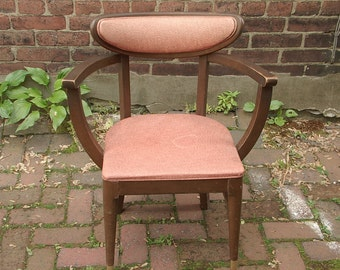 Vintage 1960's Bianco Danish modern arm chair, salmon pink chair, Danish dining chair, Mid Century Modern chair, gift for her