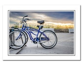Bicycle Note Card with Envelope, Blue Bicycles Photo Card, Delaware Beach Card, Boardwalk Art Card