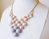 Pastel Pink & Purple Beads Bib Necklace Candy Colored