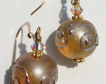 Handmade Lampwork jewelry Glass Beaded earrings gold scrolls