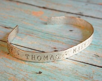Cuff Bracelet with Kids Names Mother Grandmother Sterling Silver Hand Stamped