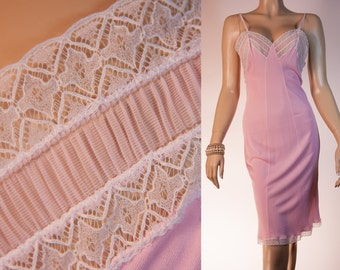 Elegant slinky silky soft and stretchy candy pink heavyweight nylon and delicate white lace detail 1950's vintage full slip - 2659